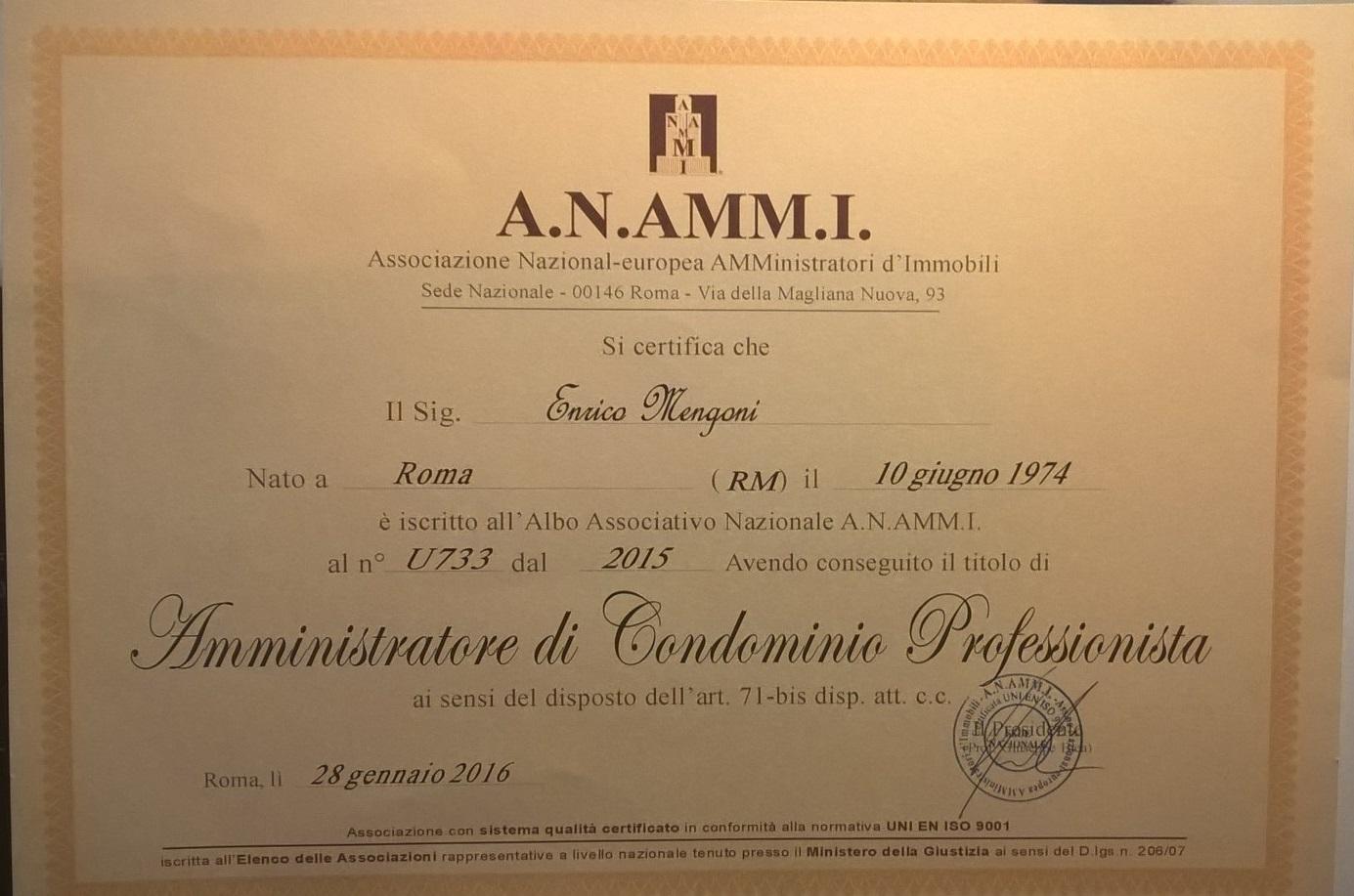 ATTESTATO di QUALIFICA AMMINISTRATORE PROFESSIONISTA A.N.AMM.I.