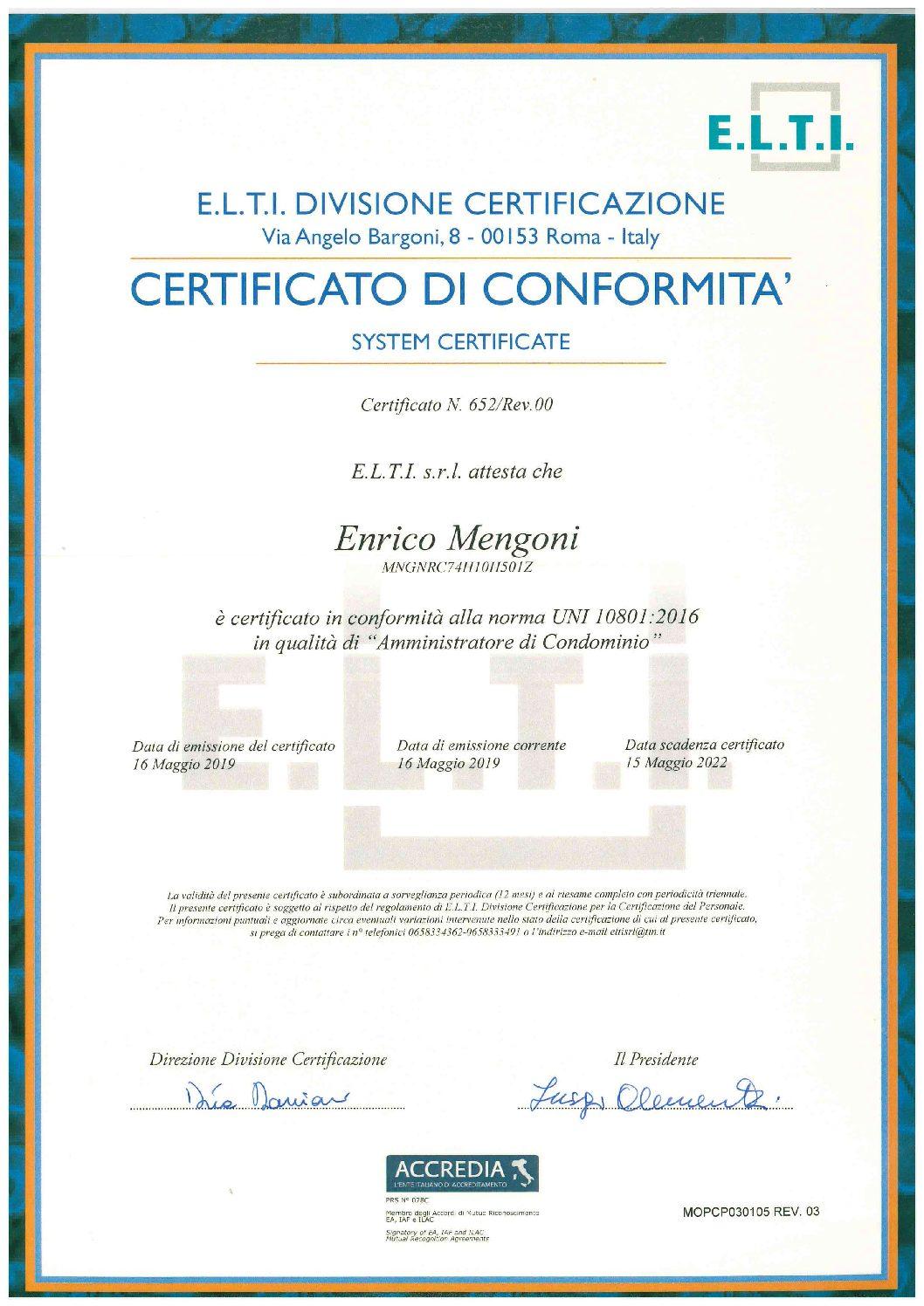 AMMINISTRATORE CERTIFICATO IN CONFORMITA' DELLA NORMA UNI 10801:2016.