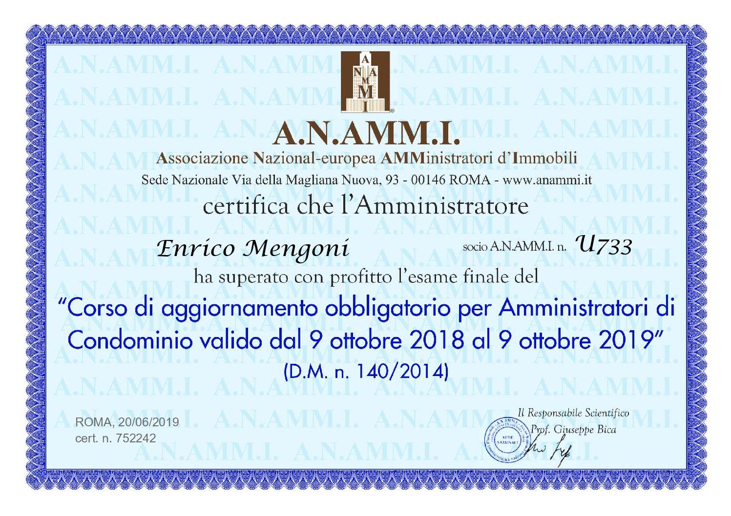 ATTESTATO CORSO AGGIORNAMENTO AMMINISTRATORE PROFESSIONISTA A.N.AMM.I. 2019
